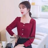 依多多 襯衫 秋紅色方領上衣小心機設計感小眾輕熟士襯衫長袖襯衣