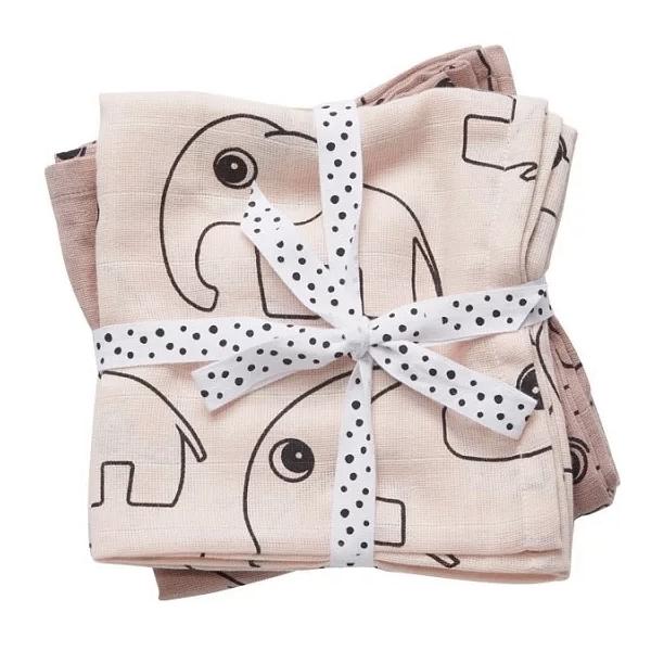 丹麥 DONE BY DEER 純棉嬰兒包巾(小象兩件組)~粉紅
