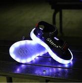熒光鞋 USB充電夏季新款韓版LED發光露趾涼鞋熒光閃光鞋 KB3275【野之旅】