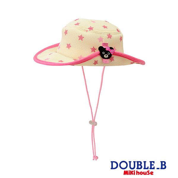 DOUBLE_B 可愛黑熊妹抗UV遮陽帽(玫瑰紅)