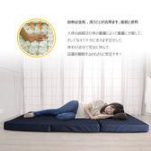 日式三折獨立筒彈簧床墊5尺可收納拆洗-藍