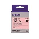 【高士資訊】EPSON 12mm LK-4PBK 緞帶 粉紅底黑字 原廠 盒裝 防水 標籤帶