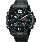 ALBA 雅柏 W兩個世界雙顯手錶-黑/44mm N021-X004SD(AZ4023X1)
