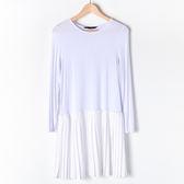 【MASTINA】長袖內搭百褶洋裝-白 好康限時