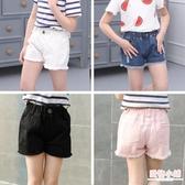 女童夏季韓版牛仔短褲破洞中大童兒童白色純棉外穿百搭寬鬆熱褲子 快速出貨