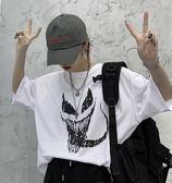 情侶裝 夏季正韓ins原宿街頭個性印花短袖T恤女情侶學生bf寬鬆打底上衣潮