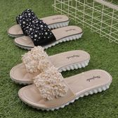 歐美山茶花涼拖鞋可愛小花朵水晶涼拖鞋女外穿平底一字沙灘拖鞋