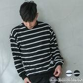 【OBIYUAN 】落肩寬鬆條紋針織衫布標圓領上衣 共2色【F0218】