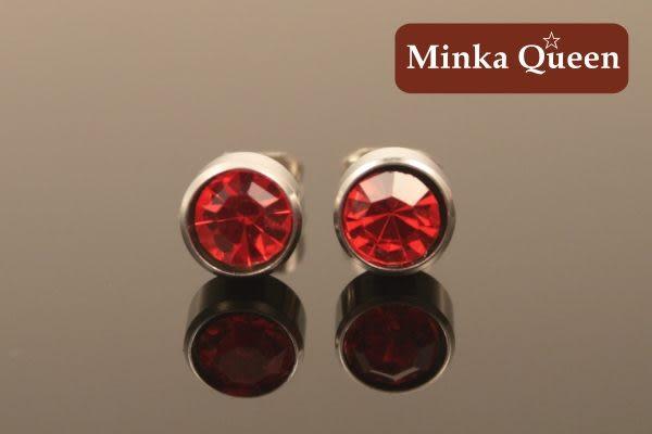 德國鈦鋼 紅色精緻水鑽 直立式抗敏耳環(一對)(5 mm)