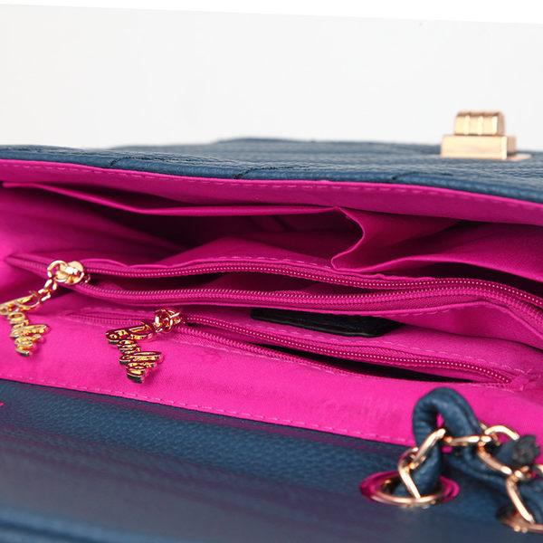 芭比復古系列 V字條紋斜挎單肩手提鏈條小方包