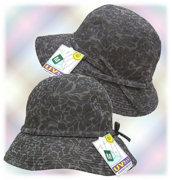 【波克貓哈日網】抗UV造型淑女帽◇花朵圖案◇《黑灰色》