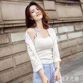 夾克外套 新款棒球服白色百搭防曬衣外搭夾克衫薄款蕾絲短外套 QQ6973『MG大尺碼』