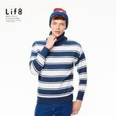 Casual 暖男御用 環保柔紗 雙色寬條高領毛衣-海軍藍【03996】