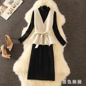 秋冬款氣質洋裝裙新款潮收腰顯瘦打底連身裙V領毛呢馬甲兩件套 XN8935『黑色妹妹』