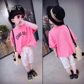 男童套裝新款女童夏裝兒童時尚潮衣服寶寶上衣 褲子2兩件套裝 范思萊恩