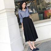 洋裝 學生復古女神范闊腿褲兩件套裝女夏季 限時降價