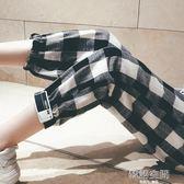 棉麻九分褲子女夏2018新款學生寬鬆韓版ulzzang百搭格子薄休閒褲