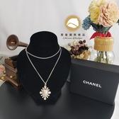 【雪曼國際精品】CHANEL 專櫃正品 Chanel 香奈兒 LOGO金色珍珠貝面水晶鑽項鍊~二手商品(9成新)