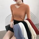 秋季新款修身鏤空半高領針織衫上衣秋冬套頭長袖內搭毛衣女打底衫 小山好物