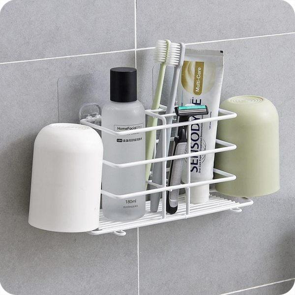 超值精選牙刷架鐵藝牙刷置物架衛生間漱口杯收納架壁掛牙具座電動牙刷架下殺8折