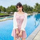 特惠連身泳裝 長袖連體泳衣女夏保守韓國ins遮肚顯瘦2021新款溫泉仙女范游泳裝