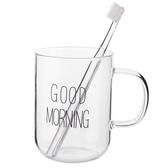 優思居 簡約帶把手漱口杯 透明玻璃洗漱杯喝水杯情侶刷牙杯子