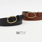 皮帶 復古金屬橢圓環釦飾皮革腰帶-BAi...