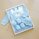 GMP BABY台灣製麻花布熊頭兩用兔裝 藍 彌月禮盒1組