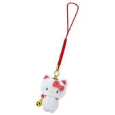 〔小禮堂〕Hello Kitty 招財貓植絨玩偶娃娃吊飾《紅白》新年掛飾.鑰匙圈.2020新春特輯 4901610-93204