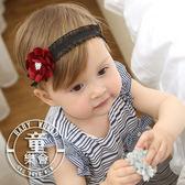 髮帶 兒童 酒紅花朵 蕾絲彈力 髮飾 BW