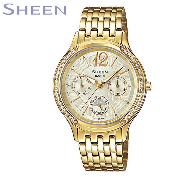 CASIO SHEEN 復古全金水鑽三眼星期日期鋼帶女錶x33mm・SHE-3030BGD-9A|名人鐘錶高雄門市