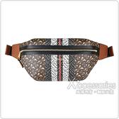 BURBERRY Striped燙金LOGO字母設計牛皮拉鍊胸腰包(棕褐)