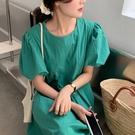 棉麻洋裝 正韓春夏復古圓領泡泡袖高腰連身長裙 花漾小姐【現+預購】