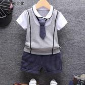 男寶寶夏裝個性男童短袖套裝 全館8折