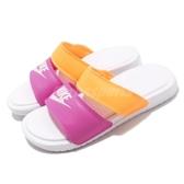 Nike 拖鞋 Wmns Benassi Duo Ultra Slide 白 桃紅 黃 女鞋 雙帶 涼拖鞋 【PUMP306】 819717-102