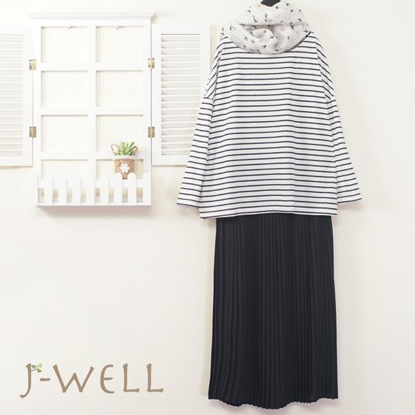 J-WELL 條紋上衣壓褶裙二件組(組合A435 8W6510黑+8J1447黑)