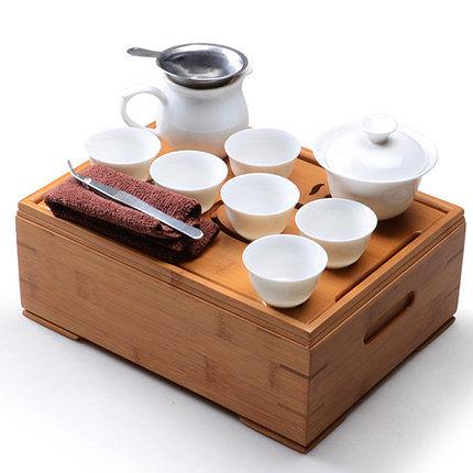 便攜式旅行功夫茶具 陶瓷套裝 帶茶盤茶盒