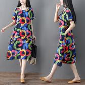 洋裝 連身裙 棉麻短袖連衣裙女2019夏季中大尺碼寬鬆中長款民族風亞麻中長裙大擺裙
