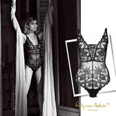 Aubade-性感女人M-L奢華頂級蕾絲連身BODY(黑)ME