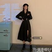 雙11西裝連身裙大碼女裝胖mm法式小眾顯瘦連身裙女秋裝新款長袖西裝裙赫本風裙子