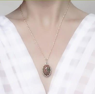 [協貿國際]天然花綠石鑲嵌橢圓形吊墜鍍24K金鍊單條價