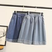 限時特購 夏季新款大碼女士時尚五分褲胖MM松緊腰卷邊毛邊牛仔闊腿褲