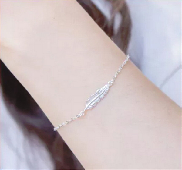 S925純銀手鍊 女款手鏈 氣質羽毛純銀手鍊 手環 手飾 韓版時尚銀飾品 日韓百搭款銀飾 純銀飾品