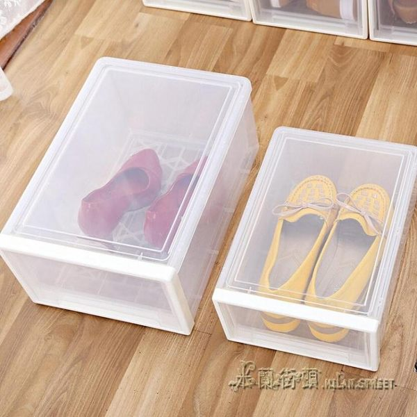 加厚塑料防塵透明鞋盒抽屜式收納箱男女鞋收納盒組合收納柜【米蘭街頭】YDL