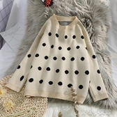 長袖T恤慵懶風毛衣女套頭新款秋冬季寬鬆波點針織衫長袖外穿上衣H427 育心小館