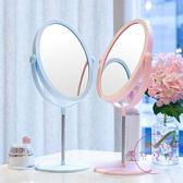 化妝鏡帶燈簡約台式LED帶燈雙面10倍放大便攜桌面歐式鏡子