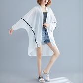 胖妹妹大尺碼女裝夏季寬鬆防曬衣女中長款超仙雪紡時尚開衫薄外套女 快速出貨