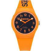 【台南 時代鐘錶 Superdry極度乾燥】Urban繽紛玩色時尚手錶SYG164O-橘X黑/38mm