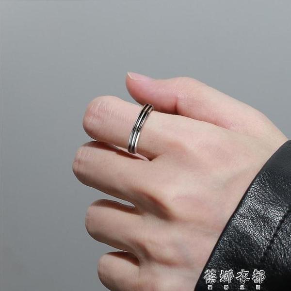 戒指S925銀戒指男潮嘻哈男士單身戒個性條紋復古食指戒霸氣指環 交換禮物