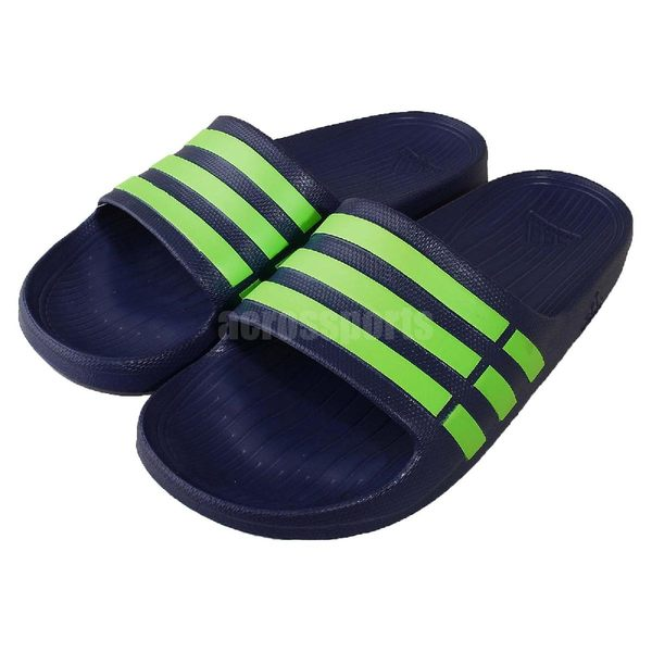 adidas 拖鞋 Duramo Slide 深藍 綠 涼拖鞋 休閒鞋 一片拖 男鞋【PUMP306】 G95489